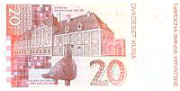 croatian currency - 20 kn bill